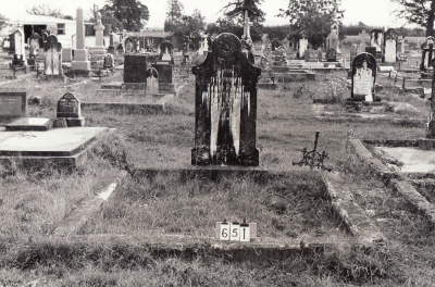 Historic picture of Makaraka cemetery, block MKB, plot 651.