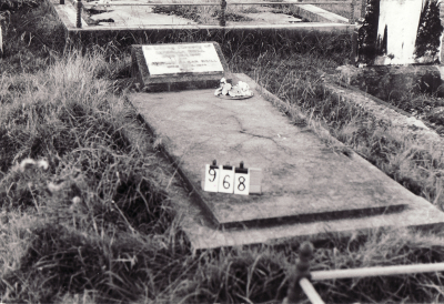 Historic picture of Makaraka cemetery, block MKC, plot 968.
