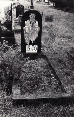 Historic picture of Makaraka cemetery, block MKE, plot 1540.