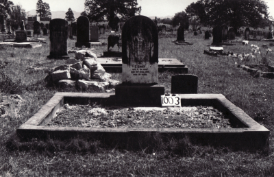Historic picture of Makaraka cemetery, block MKF, plot 999.