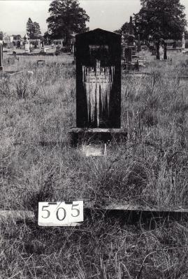 Historic picture of Makaraka cemetery, block MKG, plot 505.