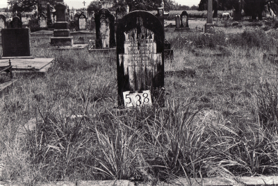 Historic picture of Makaraka cemetery, block MKG, plot 538.