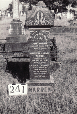 Historic picture of Makaraka cemetery, block MKH, plot 241.