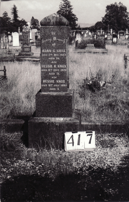 Historic picture of Makaraka cemetery, block MKH, plot 417.