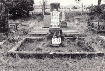 Historic picture of Makaraka cemetery, block MKI, plot 601.