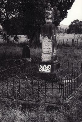Historic picture of Makaraka cemetery, block MKI, plot 863.